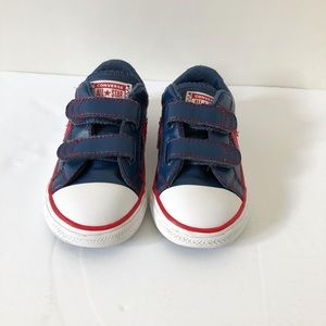 Converse navy blue and red leather velcro shoes